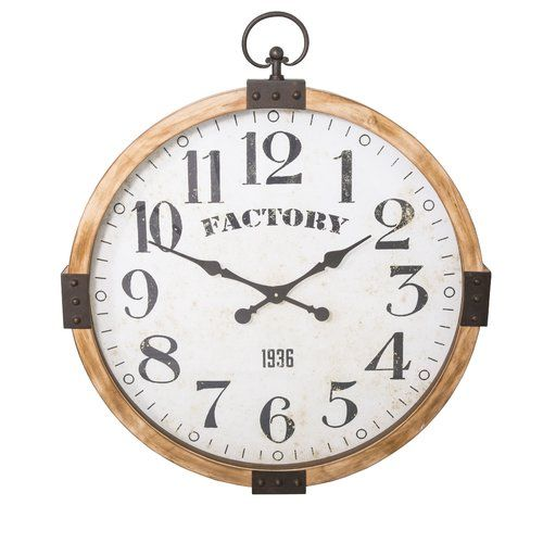 Karly Oversized 75cm Wall Clock Williston Forge Wall Clock Metal Wall Clock Wood Wall Clock