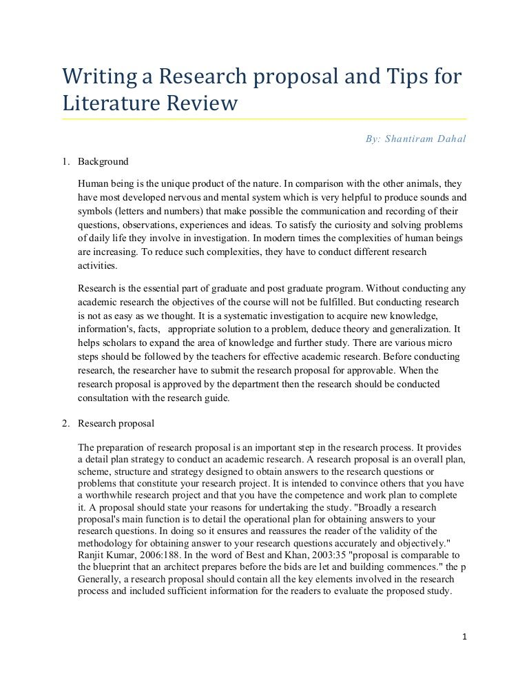Dissertation proposal and literature review