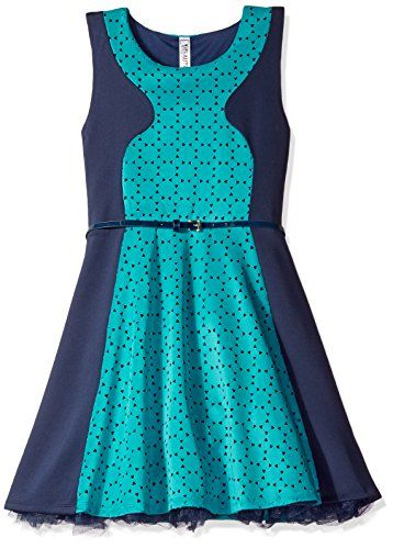 eafbddc72d Beautees Big Girls Color Block Skater Dress Aquatic Green 7   Read more  reviews of the product by visiting the link on the image.Note It is  affiliate link ...