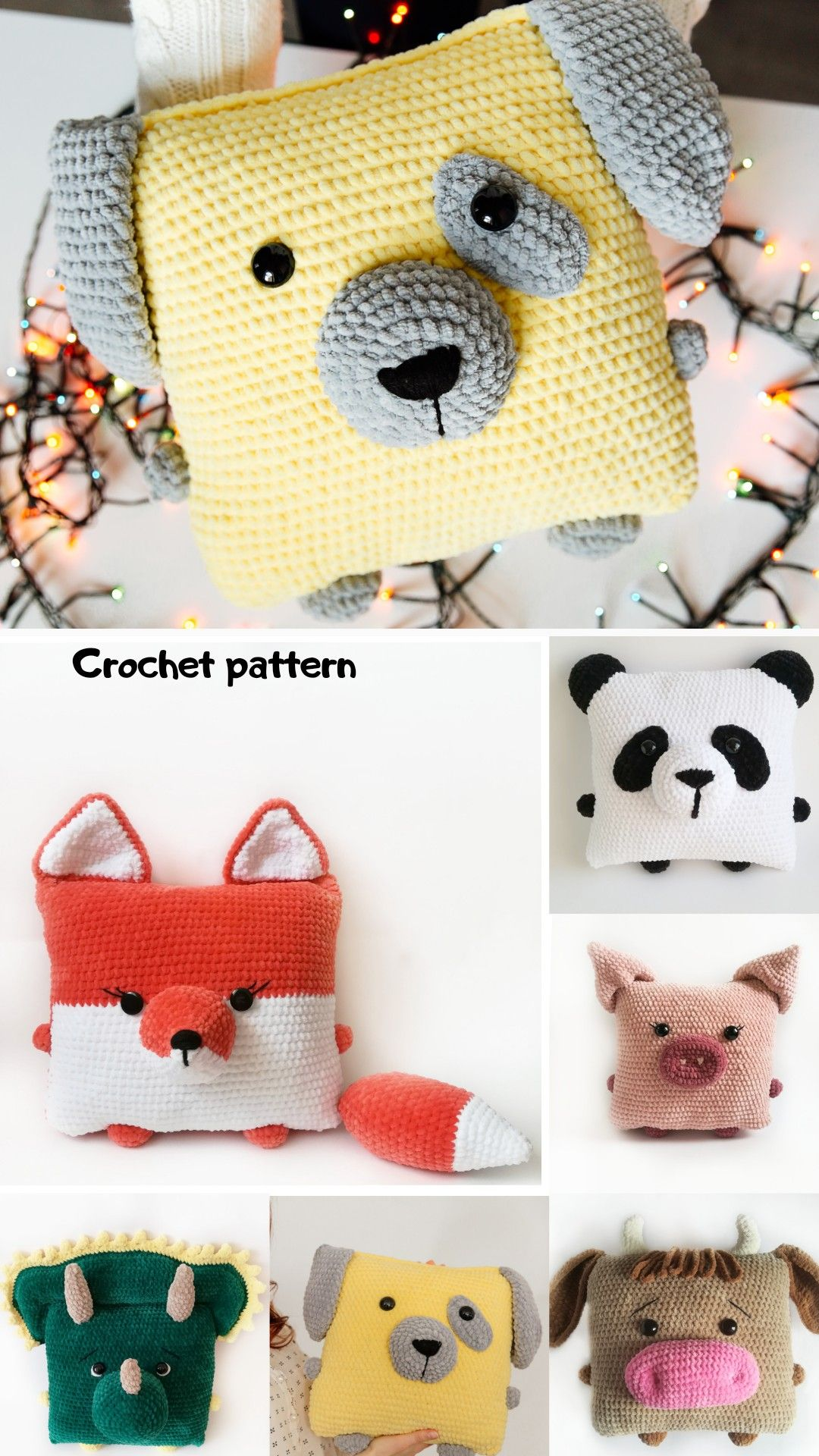 Crochet pillow pattern, crochet fox, amigurumi dog pattern, amigurumi bull, amigurumi pattern pillow