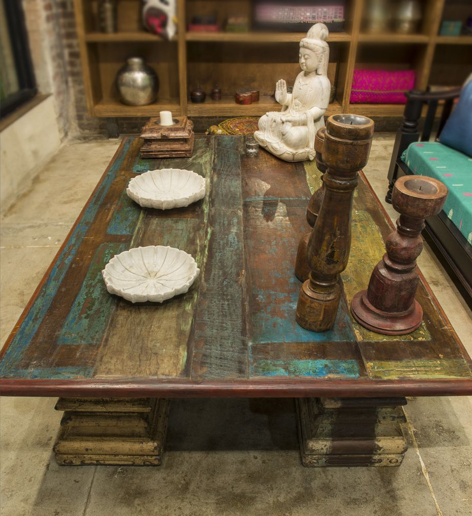 Raclaim teak wood coffee table with column base feet! www.de-cor.com