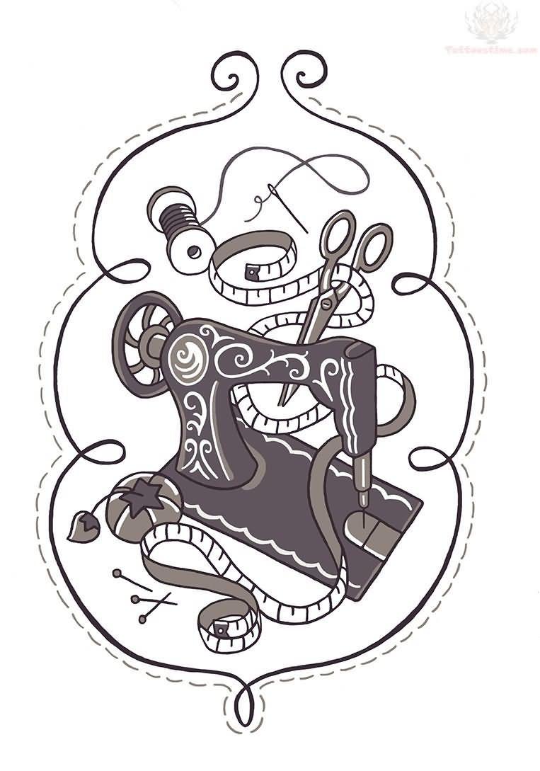 Grey Ink Sewing Machine Tattoo Design Diy Pinterest Sewing