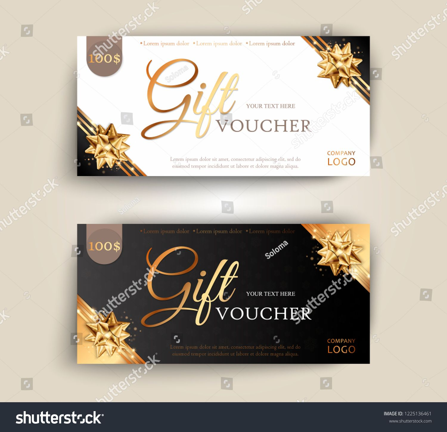 Vector Set Of Luxury Gift Vouchers With Ribbons And Gift Box