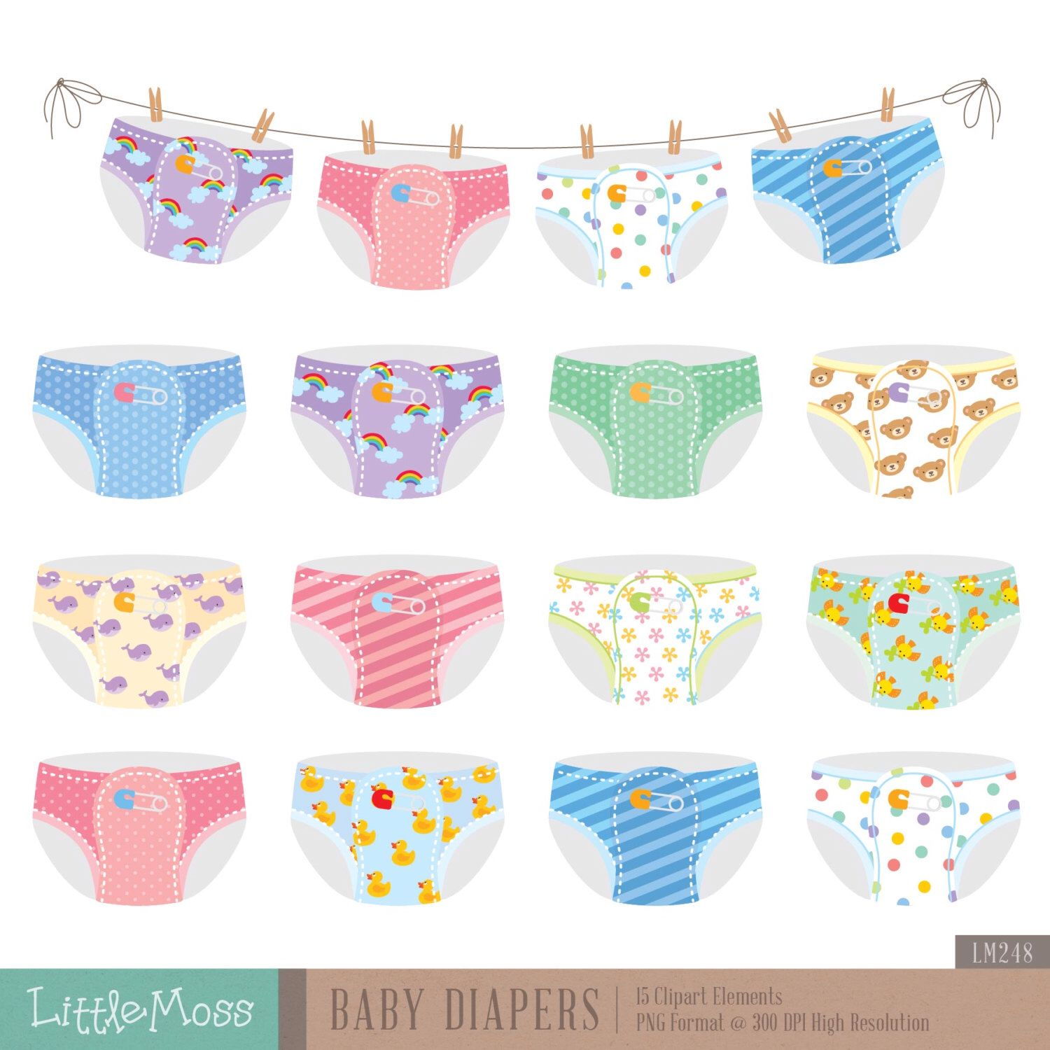 Baby Diapers Digital Clipart by LittleMoss on Etsy https