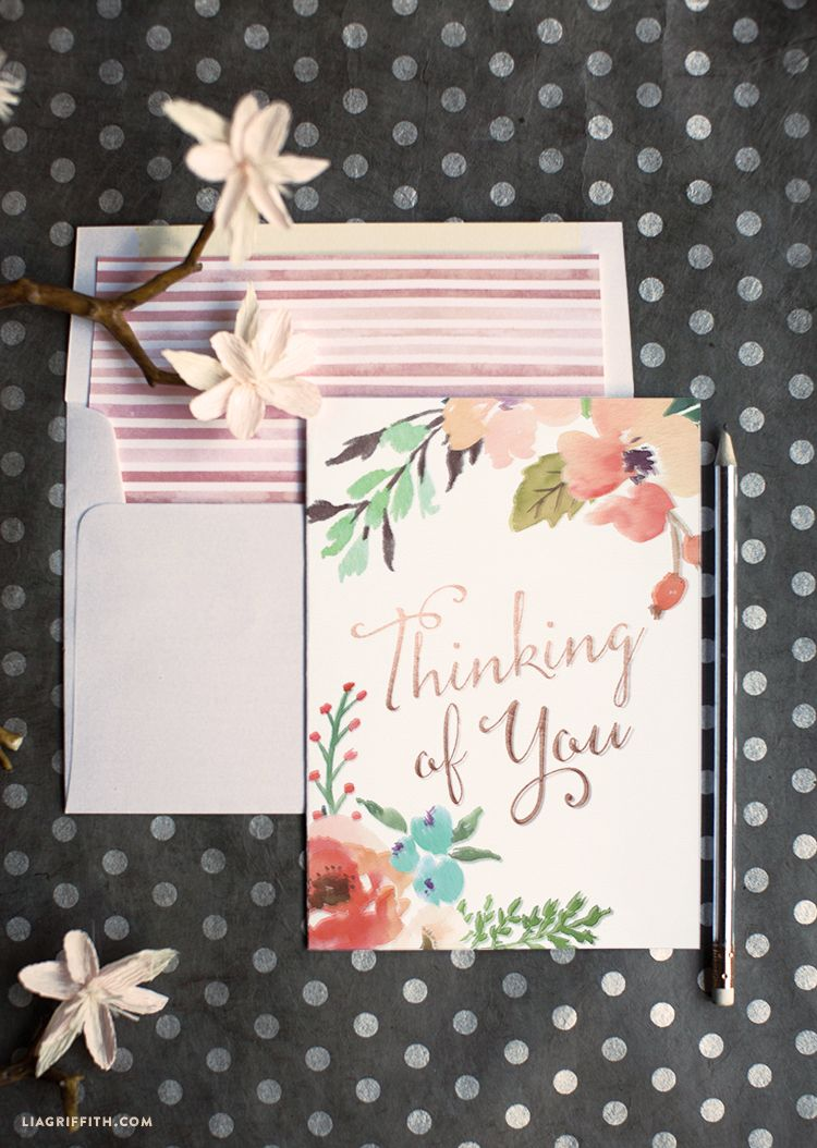 Watercolor Flower Thinking of You Card Free printable