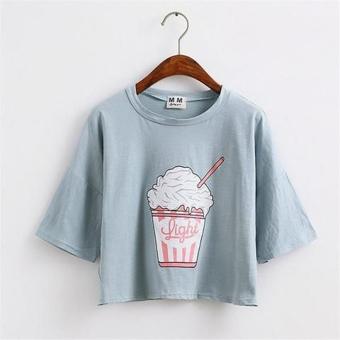 Korean Style Cotton Loose Crop Tops Kawaii T Shirt Favorite T