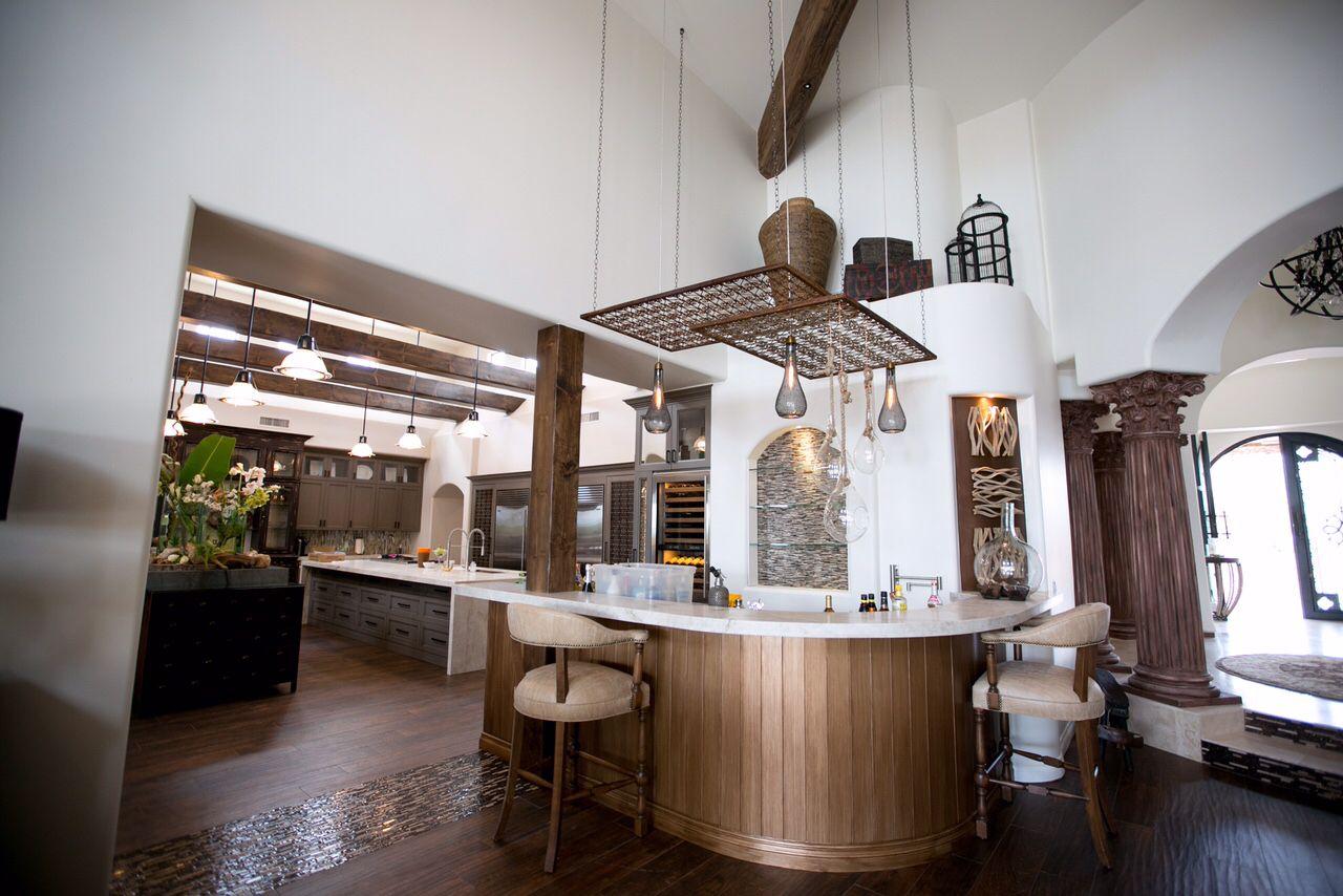 Cosa Belle Interiors: Contemporary Bar featuring metallic wood bead ...
