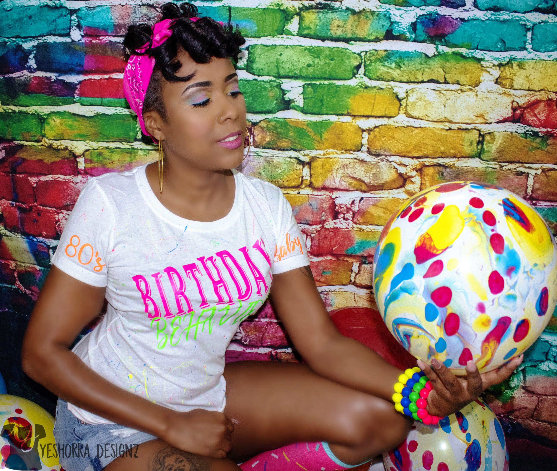 Birthday Photo Shoot Ideas 80s Inspired Girl Shirt Behavior