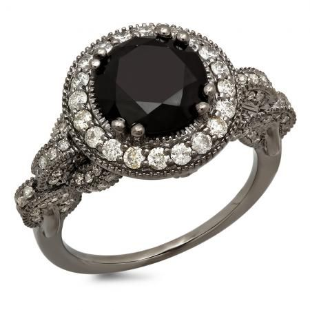 4 25 Carat Ctw Black Rhodium Plated 14k White Gold Black White Diamond Ladies Vintage Style Halo Bridal Engagement Ring 4 1 4 Ct Dazzling Rock White Diamond Rings Engagement Engagement