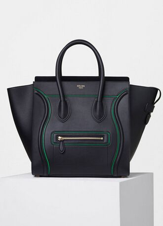 New Arrival Summer2016 Celine Bags Outlet-Celine Micro Luggage Handbag with  Green Interstice in Black Smooth Calfskin c81fb3fcb63a1