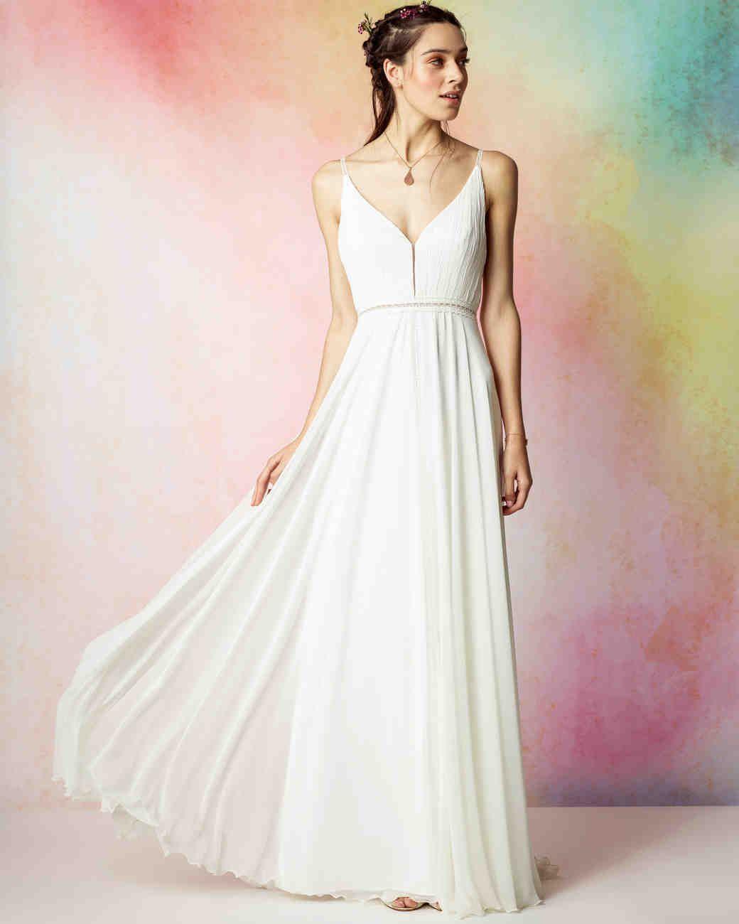 Rembo Styling Fall 2017 Wedding Dress Collection | Martha Stewart Weddings – Sleeveless A-line wedding dress