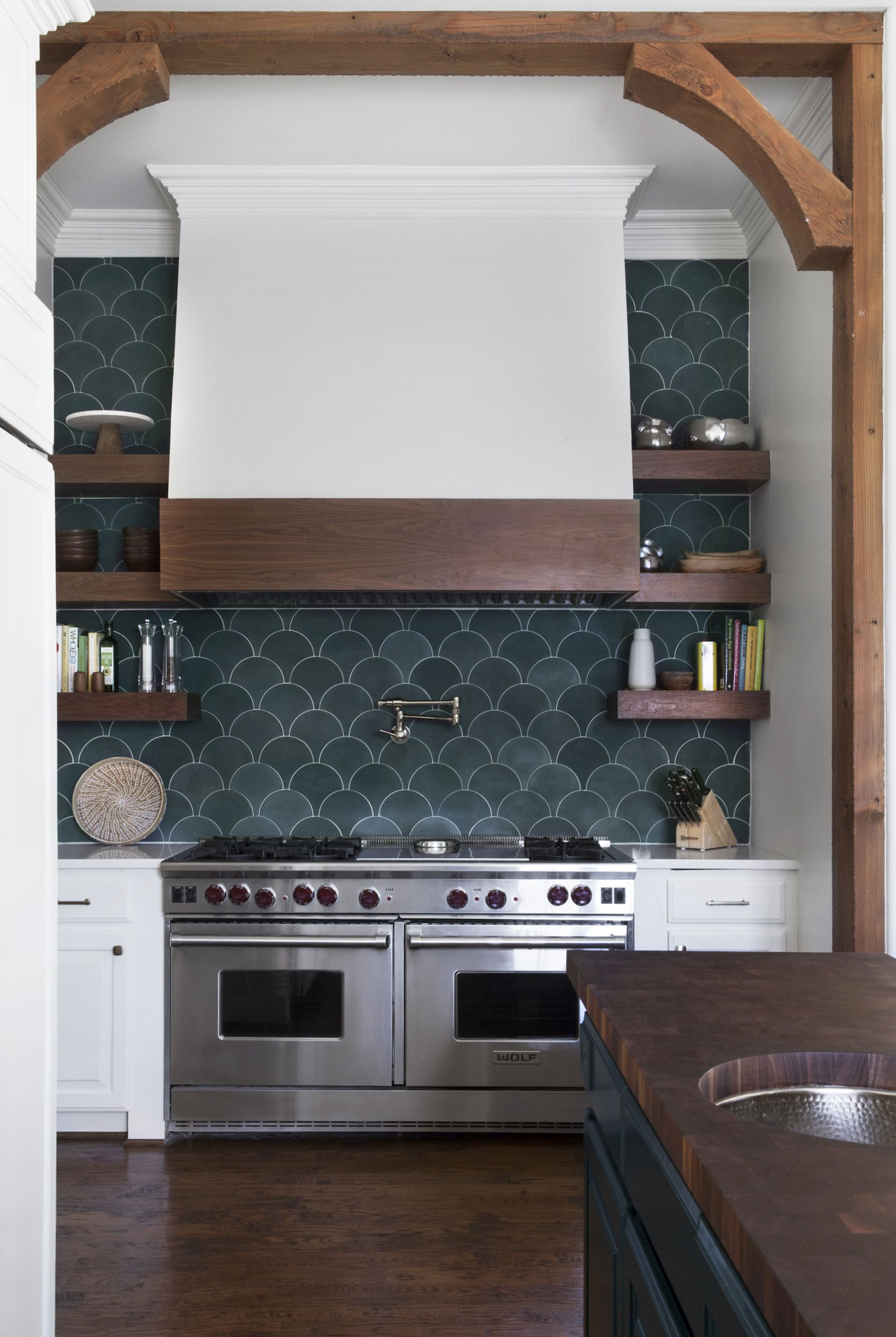 Cement Solid Federal Blue Scallop 8 X8 X5 8 Cement Tile Kitchen Kitchen Tiles Backsplash Kitchen Design