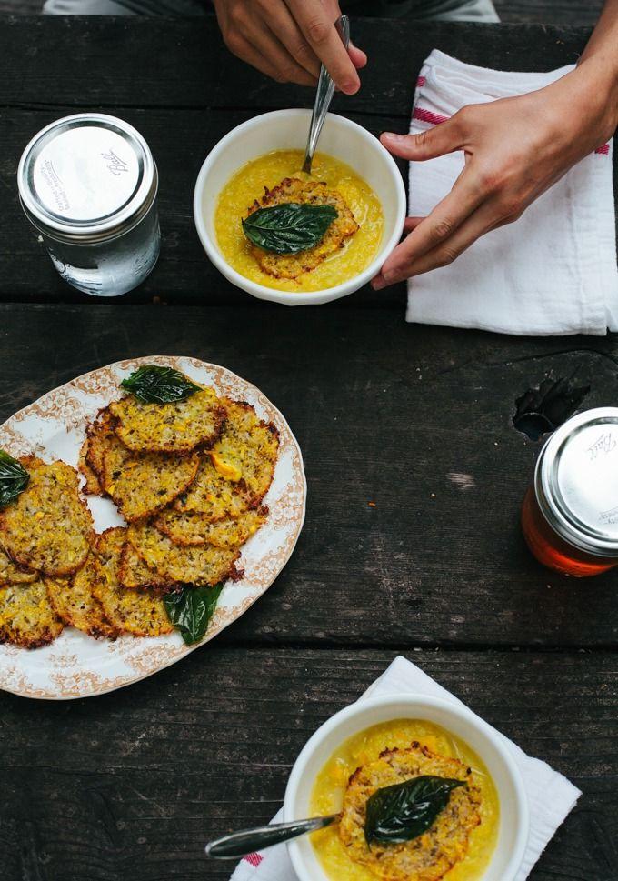 Summer Squash Soup + Cheesy Zucchini Crispies