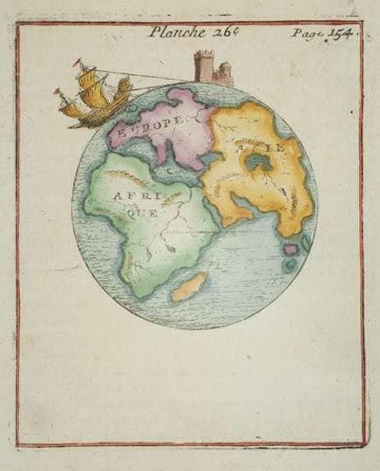 Anonymous. A Map of the globe, showing Asia, Europe & Africa Paris, c.1730.