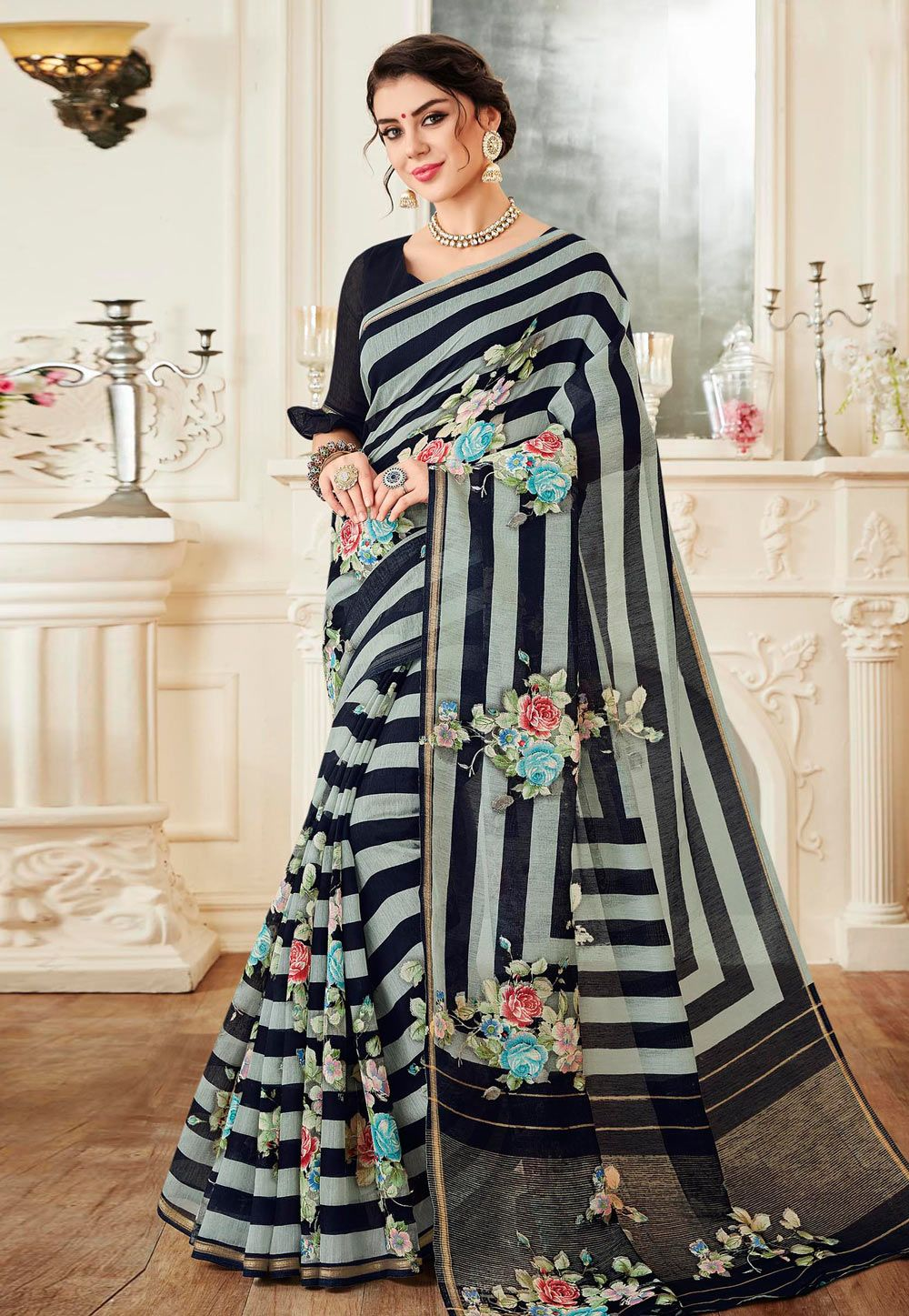 d285fa8f38bdf8 Buy Black Linen Saree With Blouse 155669 with blouse online at lowest price  from vast collection of sarees at Indianclothstore.com.