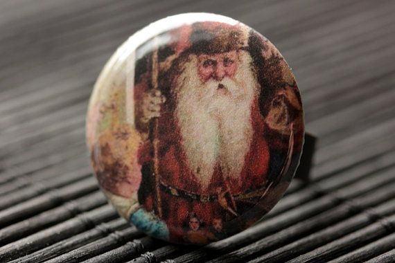 Christmas Jewelry Santa Gnome Ring Holiday Jewelry Adjustable Ring in Bronze Santa Ring Handmade Jewelry. Christmas Ring