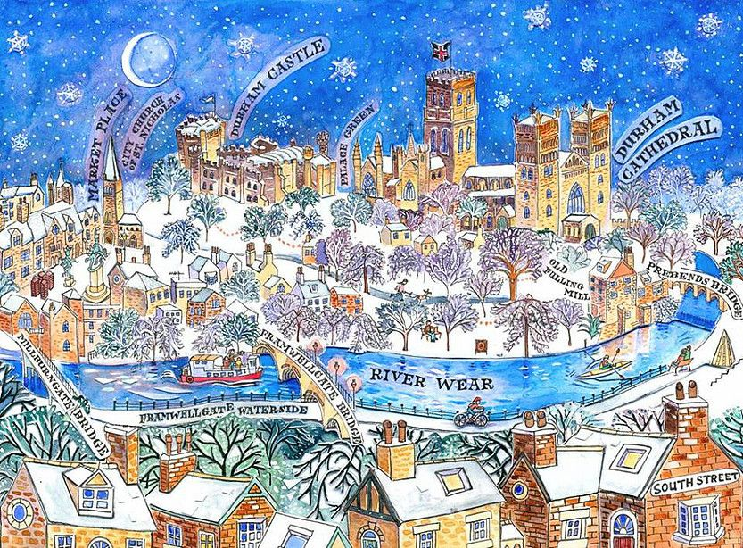 Durham City In The Snow 40 Giclee Fine Art Print From