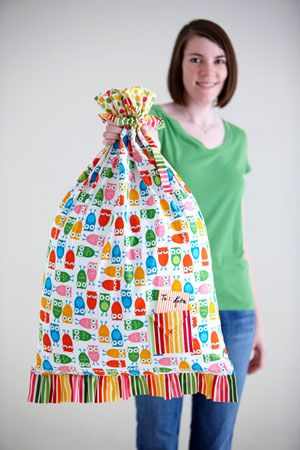 Sew gift bags for family and friends and encourage them to re-use them. Sew pillowcases as gift bags for large gifts—the wrapping becomes an extra gift!