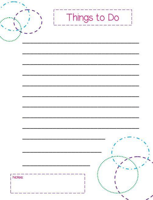 Free Printable To-Do Lists \u2013 Cute  Colorful Templates