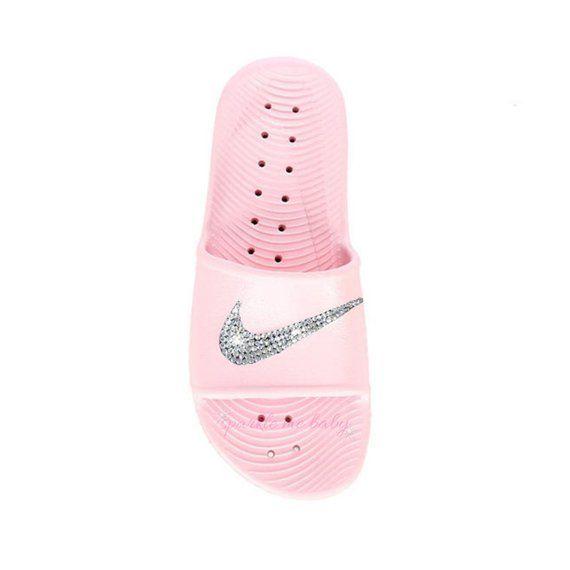 ec7385169 Swarovski Pink Nike Kawa Slides for Women - Bling for the gym - Customized  by SparkleMeBaby2u