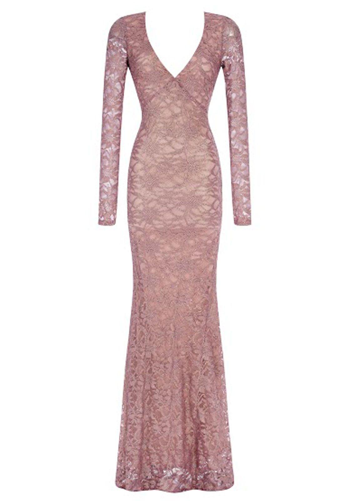 Goddiva Pink Lace Maxi Dress