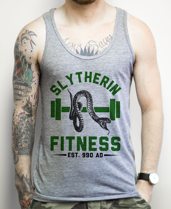 65ab546a Get fit at the Hogwarts gym Slytherin style. Dont let those Muggles get you  down. Digitally printed on American Apparel's athletic tri-blend tank top.