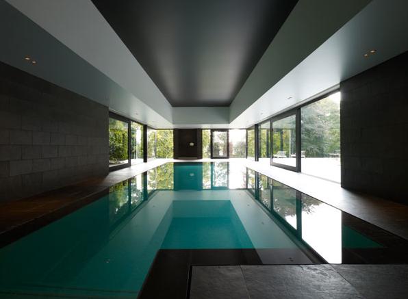 Private House MS, indoor pool in Kruishoutem by architect Glenn Sestig_