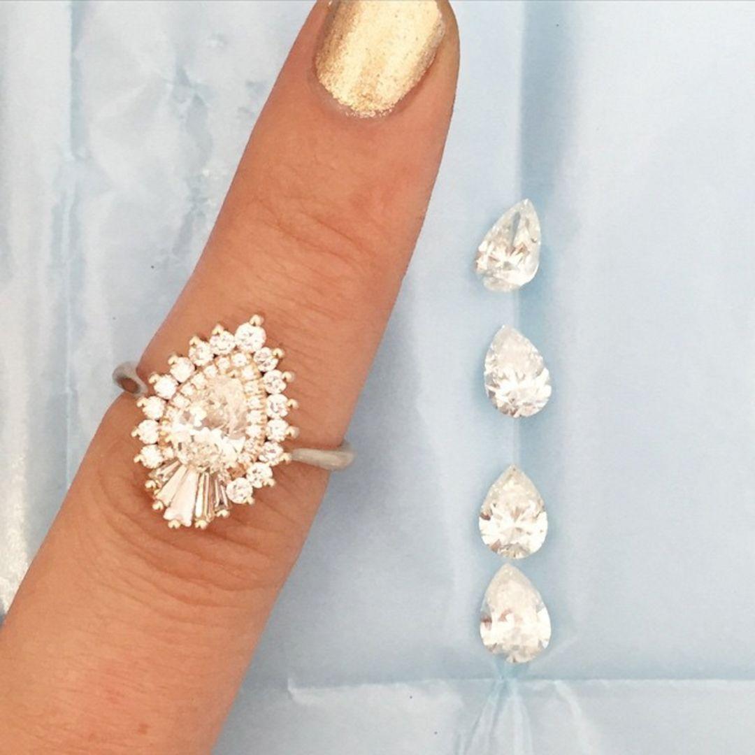 beautiful pearshaped diamond engagement ring design ring