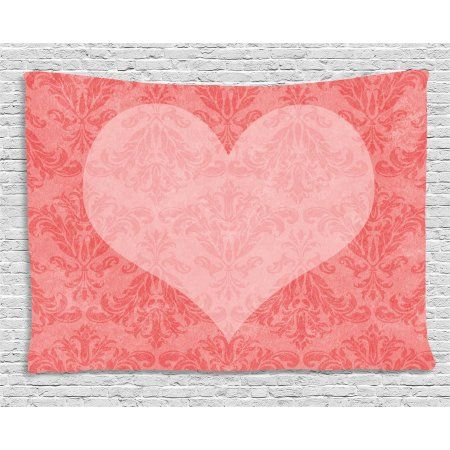 Coral Tapestry, Big Pink Heart Shape on Ancient Damask Pattern Faded ...