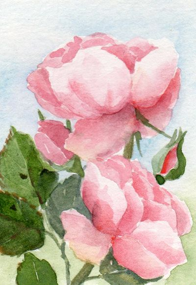 Watercolor Painting Floral Art Flowers Original Aceo
