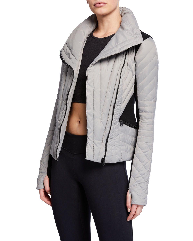 Blanc Noir Motion Paneled Puffer Jacket Puffer Jackets Koral Activewear Jackets [ 1500 x 1200 Pixel ]