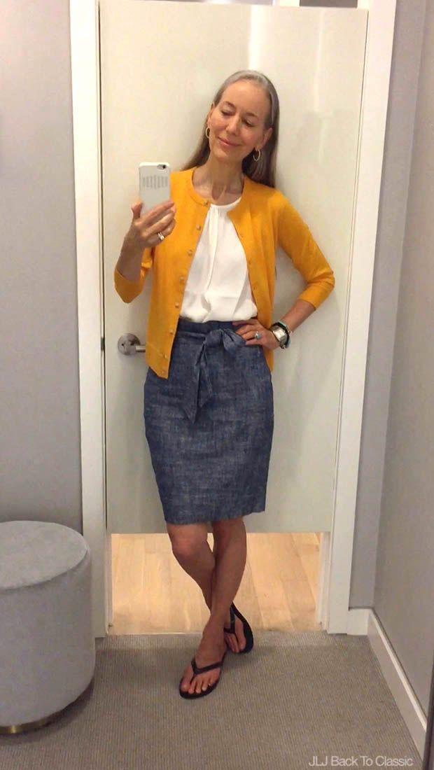 cae7a59ec8 Classic-Fashion-Over-40-Ann-Taylor-Ann-Cardigan-Chambray-Paper-Bag-Skirt