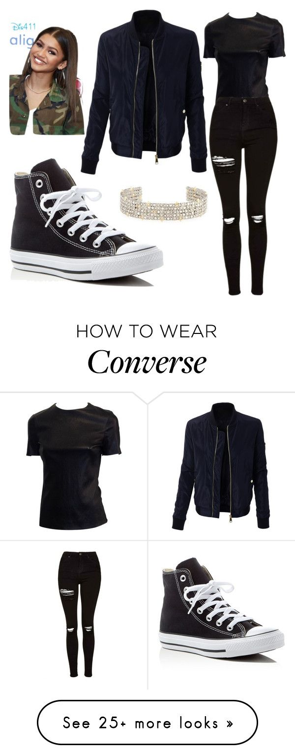 """""""Zendaya"""" by simina650 on Polyvore featuring LE3NO, Topshop, Converse and Alexis Bittar"""