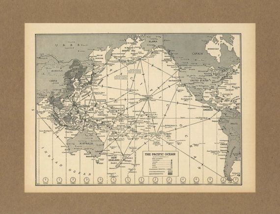 Vintage Map Pacific Ocean Aviation Flights By Placesintimemaps - Vintage aviation maps