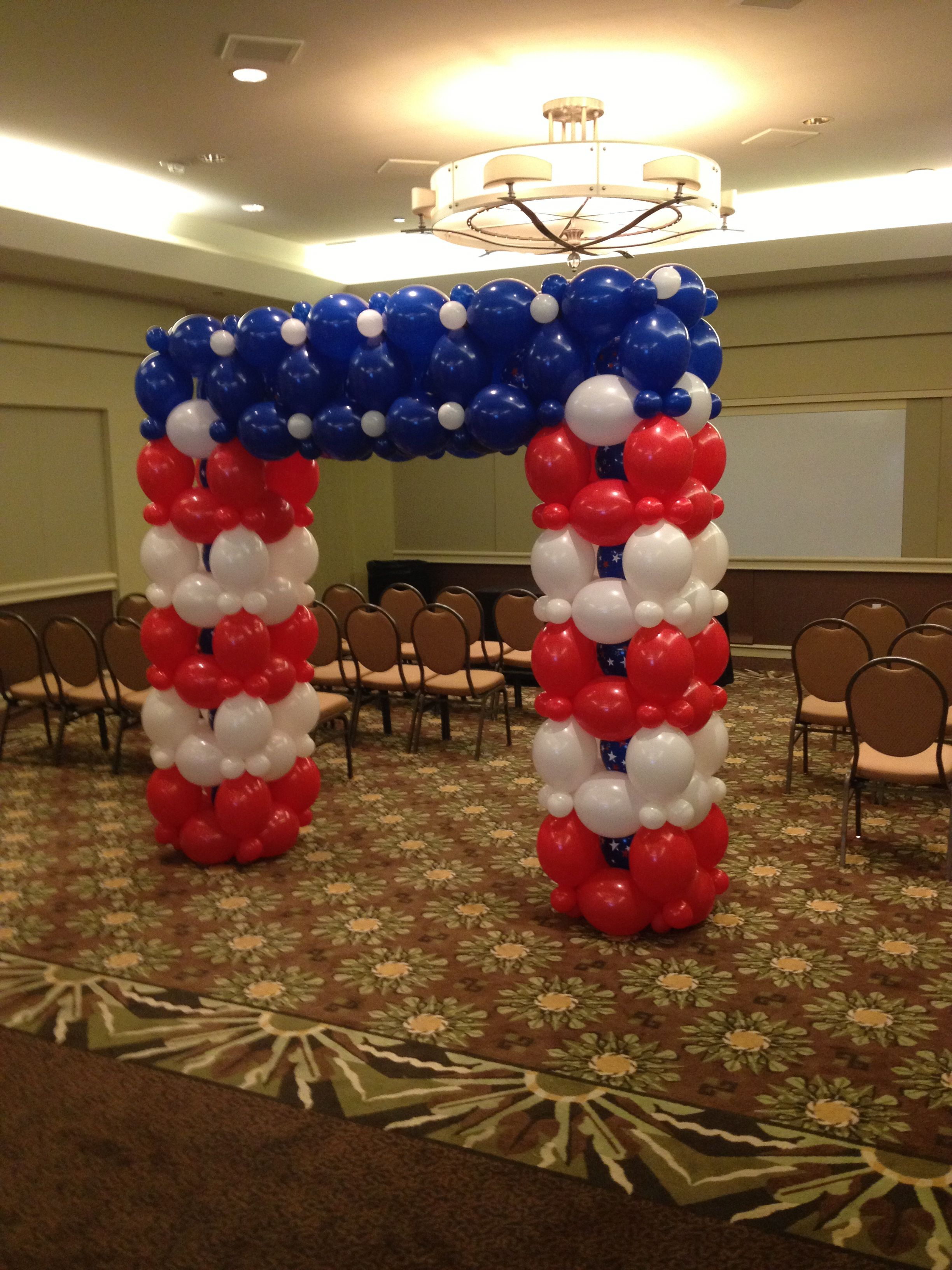 Wedding decoration ideas balloons  Patriot square balloon arch  Balloons  Patriotic  Pinterest