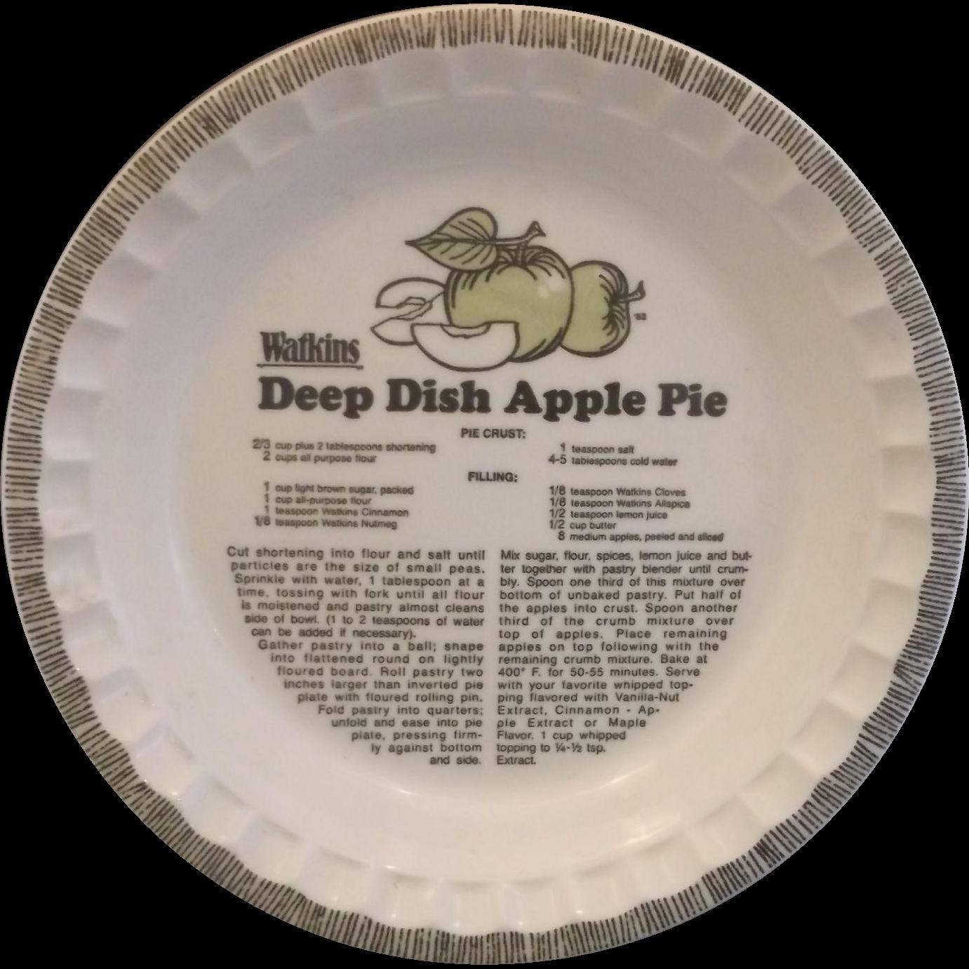 Watkins Deep Dish Apple Pie Plate Recipe Printed Royal China Green Apples  sc 1 st  Pinterest & Watkins Deep Dish Apple Pie Plate Recipe Printed Royal China Green ...