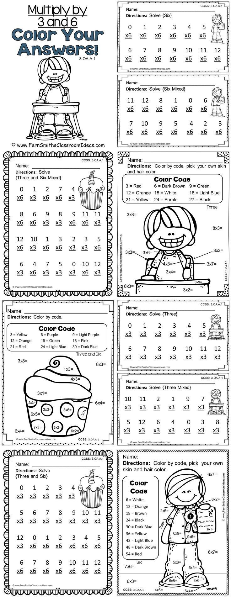 3rd Grade Go Math Chapter Four 4.3 Color By Numbers