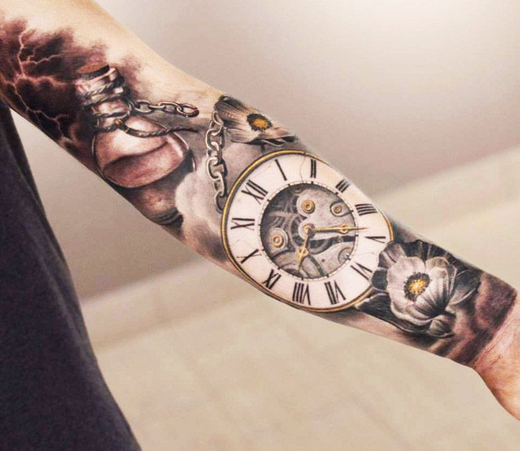 3d Clock Tattoo By Darwin Enriquez Best Sleeve Tattoos Pocket
