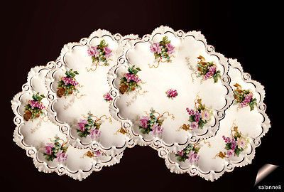 4 Antique Plates M.Z.Moritz Zdekauer  Austria Gold Pink Roses Grapes