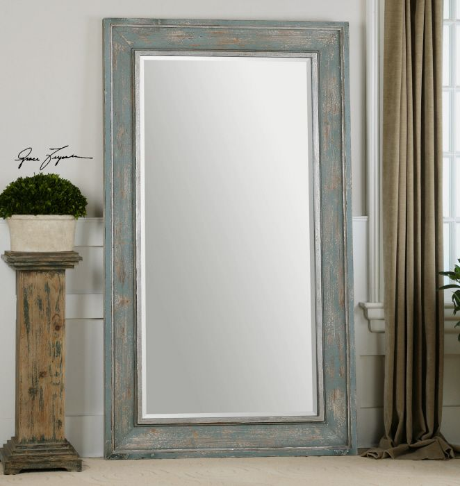 Calvera oversized distressed blue grey wall floor mirror for Gray full length mirror