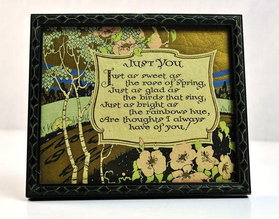 Vintage Art Deco Poem in Frame Wall Hanging Framed Gold Foil Paper ...