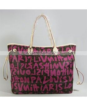 40ff06146f2  Replica handbag  Retail Wholesale designer Louis Vuitton Monogram Graffiti  Stephen Sprouse Neverfull GM Pink Handbag LV M93701 handbag