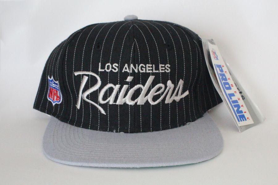 Vintage Los Angeles Raiders Nfl Pinstripe Snapback Hat Made By Sports Specialties Snapback Hats Hats Raiders Fans