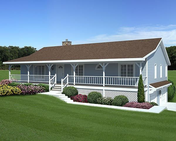 Mobile Home Porch Designs | Elevation Of Country Hillside Traditional House  Plan 20198