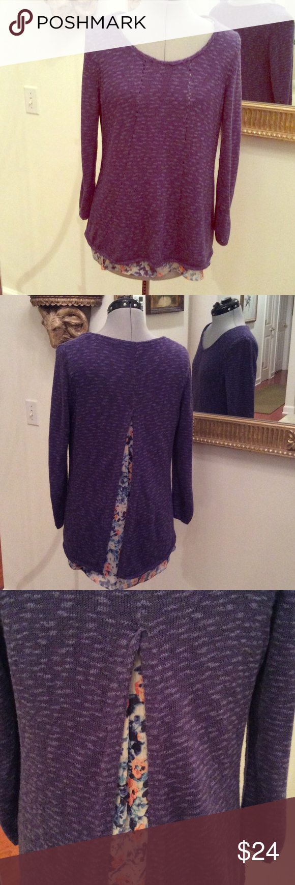 Lucky again 🍀 Lucky Brand sweater , purple with built in blouse, size M, 3/4 length sleeves Lucky Brand Sweaters Crew & Scoop Necks