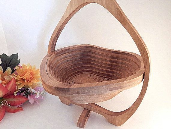 Fruit Bowl Spiral Cut Wood Collapsible Basket By Tkspringthings