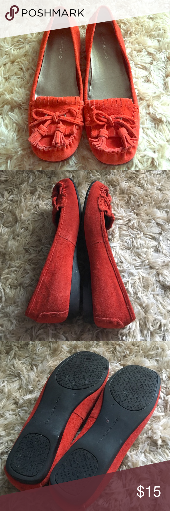 Suede Moccasins Burnt red orange and suede = color and comfort.  Worn a bit with love but still has lots of life. Bandolino Shoes Flats & Loafers