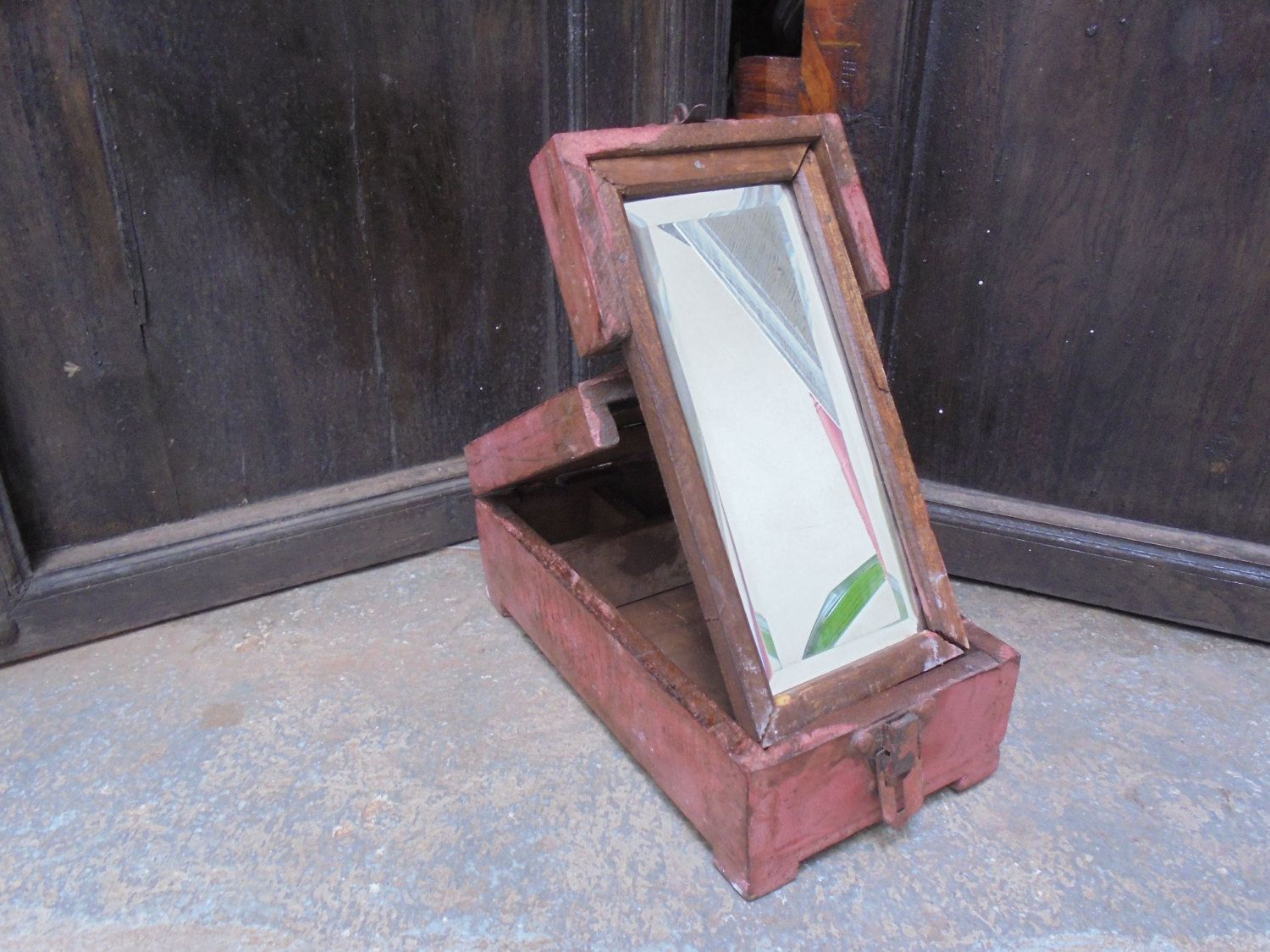 Antique Portable Shaving Box Indian Mirror Painted. by ...