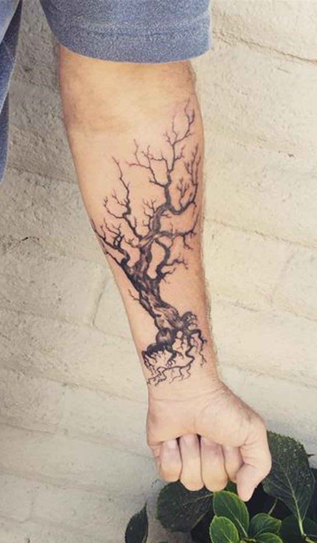 mens tattoo ideas dead oak tree forearm at mybodiart com tree rh pinterest com old dead tree tattoos dead tree tattoo with heart hanging