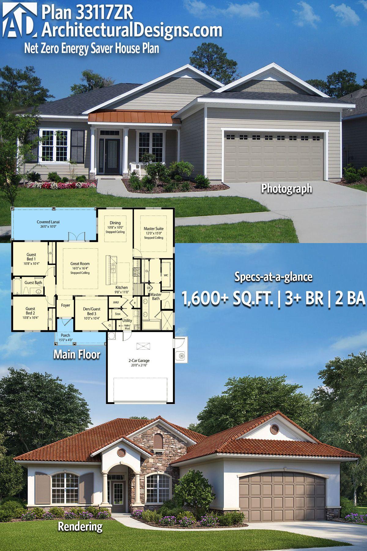Plan 33117zr Net Zero Energy Saver House Plan Model House Plan Craftsman House Plans New Model House